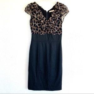 Rebecca Taylor Leopard Silk Wool Sheath Dress